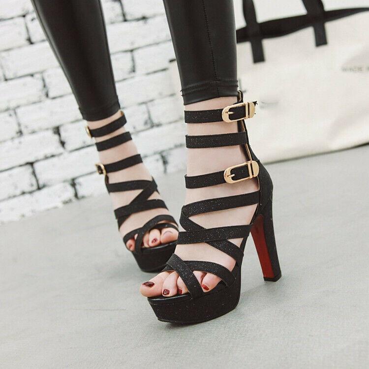 UK2-11.5 Ladies High Heels Platform Sandals Buckle Strap Punk Casual shoes Size