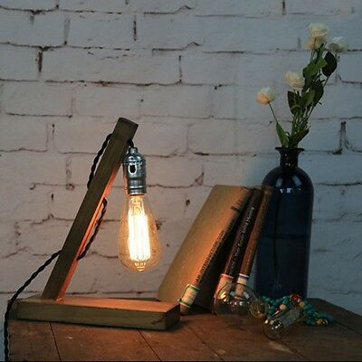 Edison Industrial Retro Vintage Wood Table Lamp Kitchen Bar Table Lamp