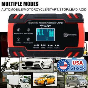 LCD Car ATV 12//24V 6-150Ah Motorcycle Pulse Repair Battery Charger AGM Automatic