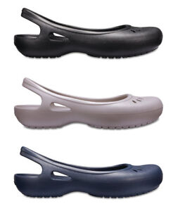 Image is loading Crocs-Womens-Kadee-Croslite-Slip-Ons-Slingbacks-Flat-