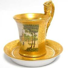 St. PETERSBURGER EMPIRE TASSE mit LANDSCHAFTSMINIATUR goldener FOND CUP + SAUCER