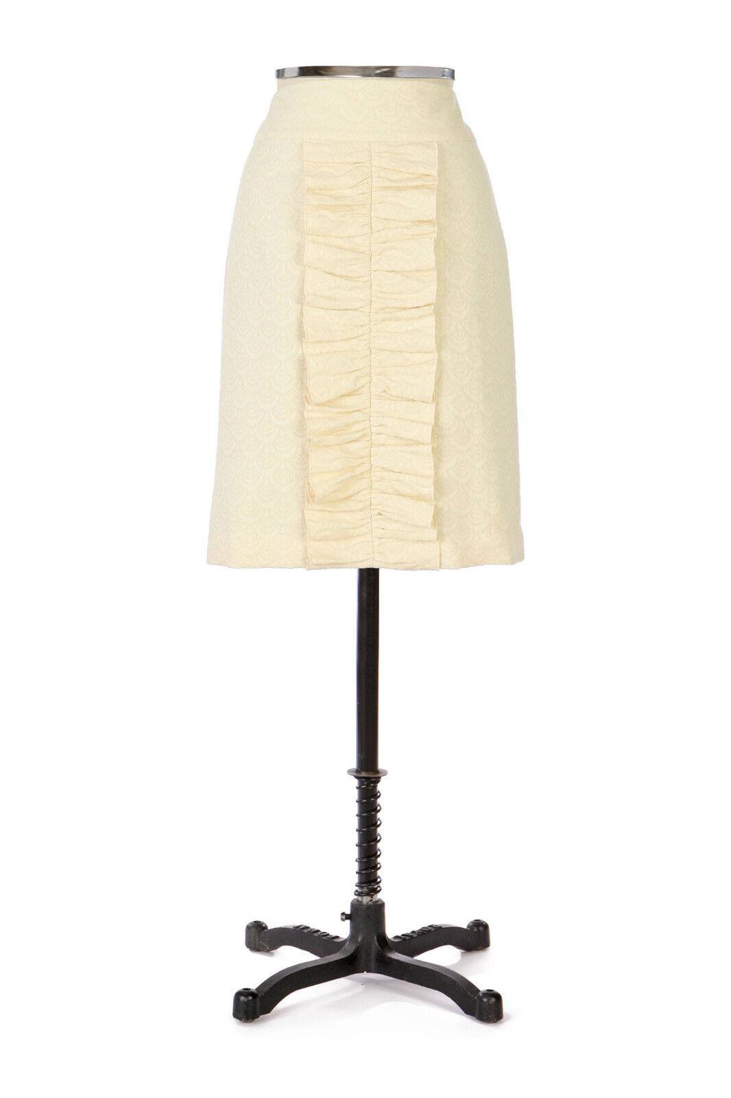 8 RARE Anthropologie Leifsdottir Jacquard Wool  Ruffle Pencil Skirt