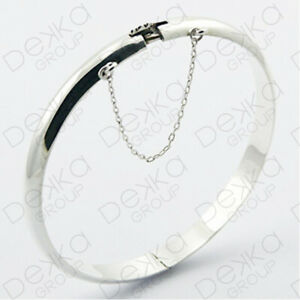925 Sterling Silver Classic Bangle Bracelet Solid Golf Hinge Safety Chain Women