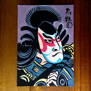 Japanese-art-original-painting-ACEO-hand-painted-OOAK-signed-kabuki-miniature