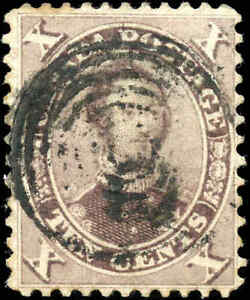 1859-64 Used Canada 10c F Scott #17b HRH Prince Albert First Cents Issue Stamp