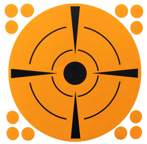 "Target Shooting Stickers 6/"" Round Neon Orange w// Black Adhesive Pasters 50 Total"
