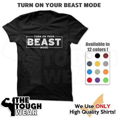BEAST MODE Men Muscle T-Shirts Tank Cotton Sleeveless MMA Motivation tee c546