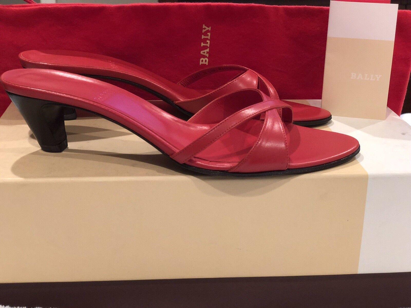 New NIB BALLY Red shoes Mules Heels EU 36   US 5.5 B  350 Riva Sandal