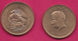 1944 CINCO CENTAVOS 5 coin MEXICO snake world BU