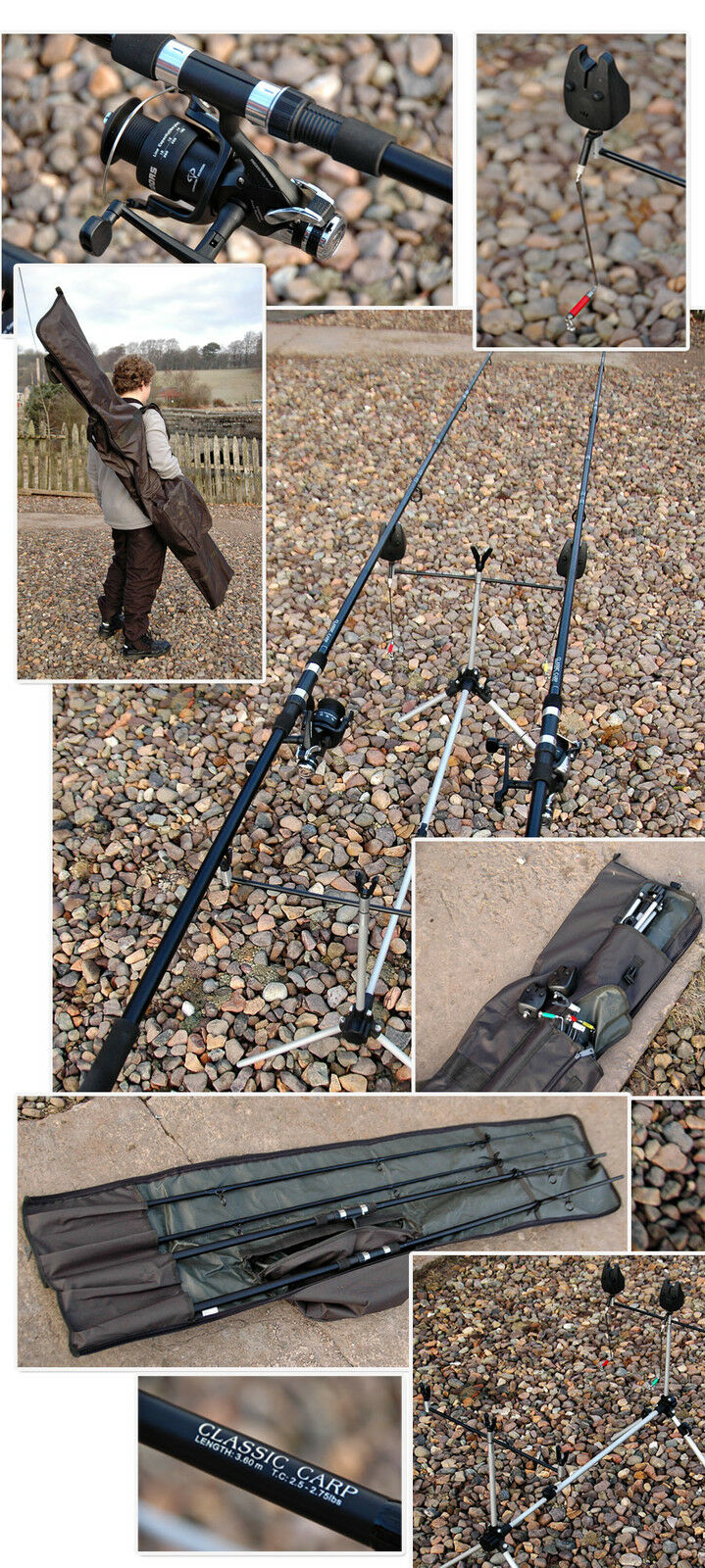 2 ROD,POD,ALARMS,BAIT RUNNERS,HOLDALL CARP PIKE SET UP
