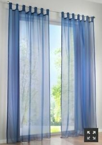 Image Is Loading 1 Pair Sheer Curtain Voile Window Curtains Navy