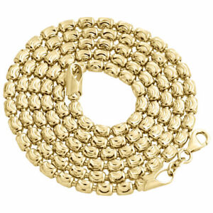 Solid-10K-Yellow-Gold-Diamond-Cut-Barrel-Chain-3MM-Necklace-Oval-Bead-22-30-Inch