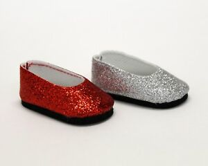 Dress-shoes-for-Wellie-Wisher-14-5-034-Dolls-Red-Silver-Glitter-Dress-Shoes