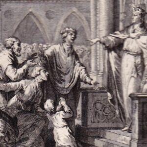 Gravure-XVIIIe-Dagobert-Francs-Autorite-Royale-Merovingiens-Siege-Langres-Dijon