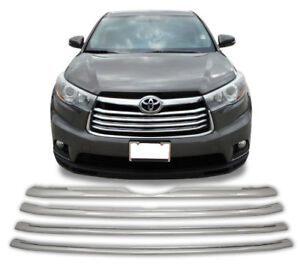 Chrome-Grille-Overlay-4-PCS-FOR-2014-2015-2016-Toyota-Highlander-LE-XLE