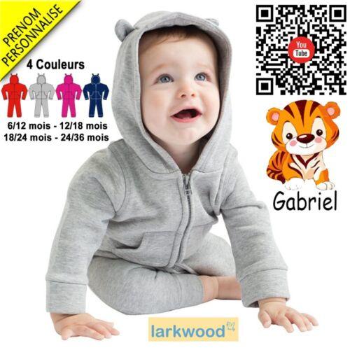 Broderie Tigre V5 Combinaison Polaire Grenouillère bébé
