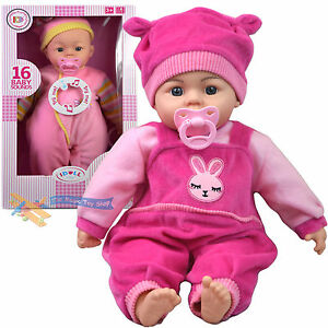 "18"" New Born Soft Body Baby Doll Toy with Dummy Baby Sounds Crying Talking Gift 5060447260110"