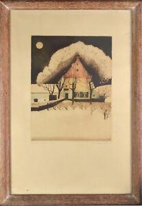 Maurice LANGASKENS (1884-1946) Eau forte en couleurs Le clair de lune 131/150