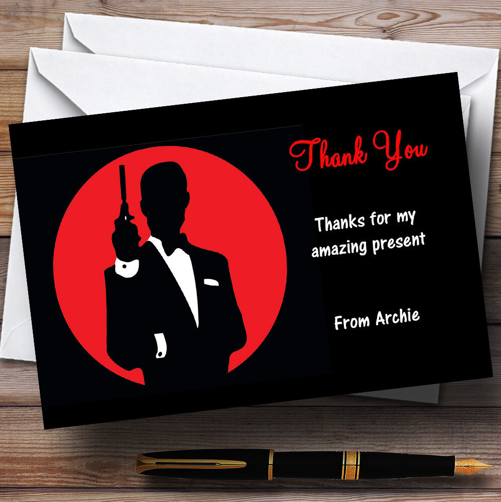 James Bond Special Agent Personalised Party Thank You Cards