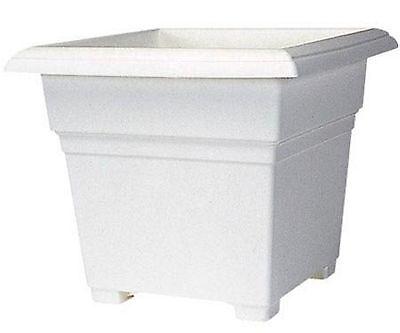 Square Tub Planter White Flower Pot 14 Inch Garden Gardening Outdoor Planting