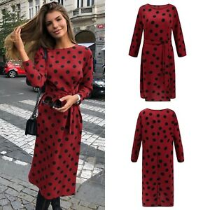 Details About Women Casual Polka Dot Midi Dress Long Sleeve Retro Maxi Dress Party Dress