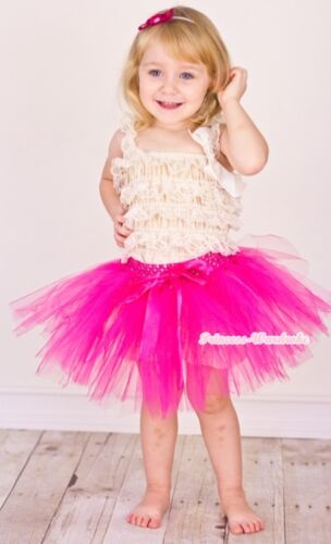 Hot Pink Petti Ballet Knotted Dance Tutu Tulle Skirt Girl Petticoat NB-4Year