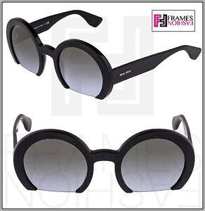 bf0b12adcf2 MIU MIU RASOIR Round Black Grey Lilac Gradient Sunglasses 07Q MU07QS ...