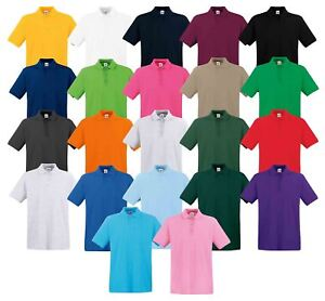 cd0a8716 Fruit Of The Loom Mens Premium Plain Cadat collar Polo Shirts T ...