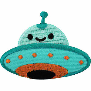 Alien-Iron-On-Badge-Sew-On-Patch-Embroidered-Spaceship-Martian-UFO-Flying-Saucer