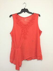 Lane-Bryant-Floral-Plus-Size-Coral-Tank-Top-Shirt-Blouse-Knit-Top-1X-2X-4X