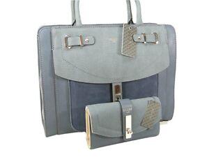 Guess-Purse-Satchel-Hand-Bag-Cross-Body-amp-Wallet-Set-2-Piece-Matching-Blue-NWT