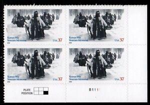 Sc-3803-Plate-Block-37-cent-Korean-War-Veterans-Memorial-Issue-ch14