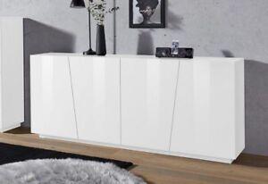 Credenza Moderna Sala : Credenza moderna cretao mobile madia bianco lucido quattro ante