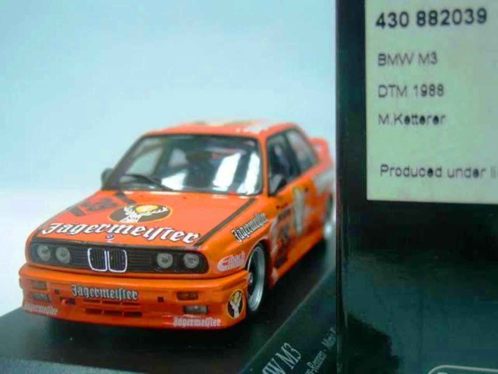Wow extremadonnate raro BMW M3 E30 DTM 1988 Montpellier JAGERMEISTER 1 43 Minichamps