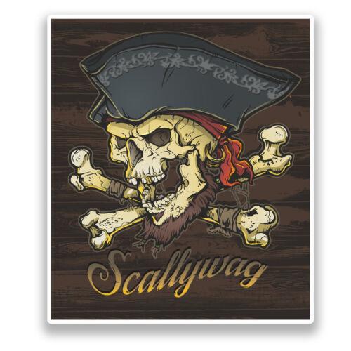 2 X Pegatina de vinilo calavera pirata scallyway Halloween Miedo #7156