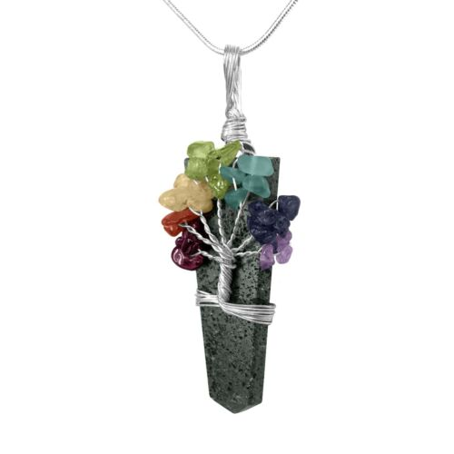 Hematite Crystal Tree Of Life Chakra Pendant Silver Wire Wrap Gemstone Necklace