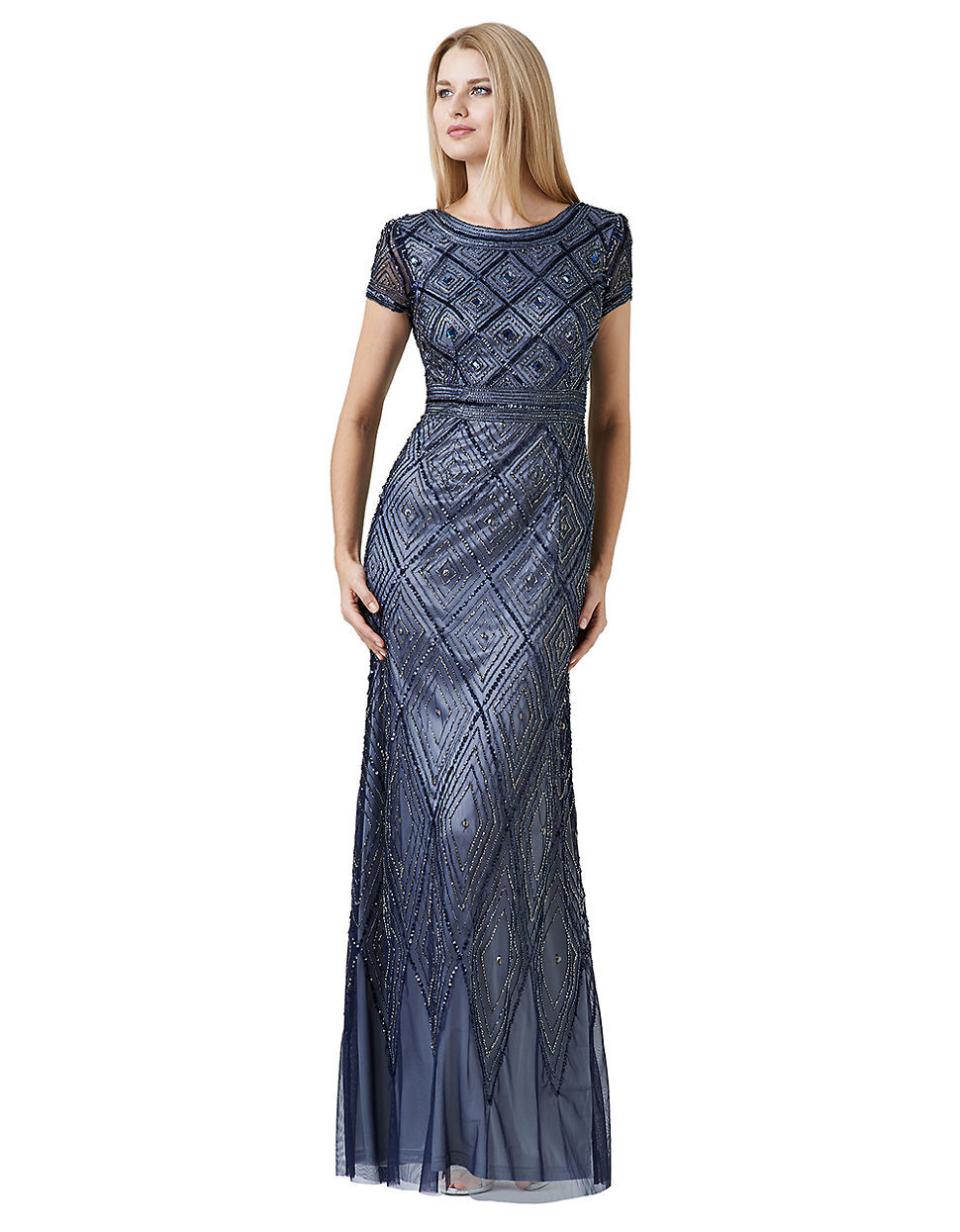 Adrianna Papell Geobeaded Gown NAVY size 10  NWT