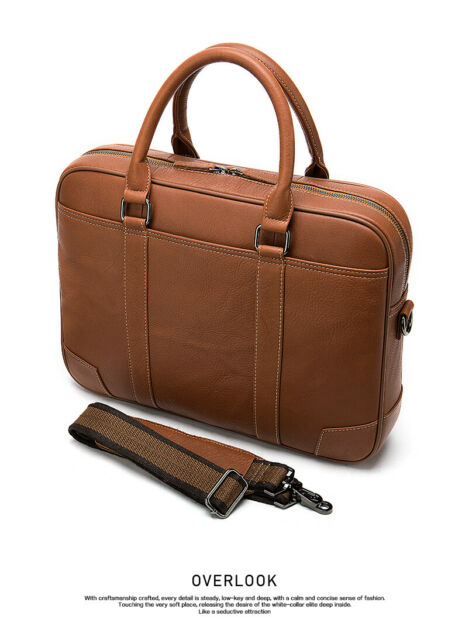 Brown Genuine Cowhide Leather Mens Satchel business briefcase shoulder bag