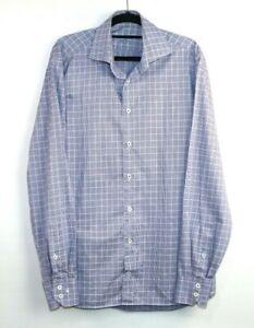 Van Laack Royal Men's Long Sleeve Button Up Blue Check Shirt Size 39