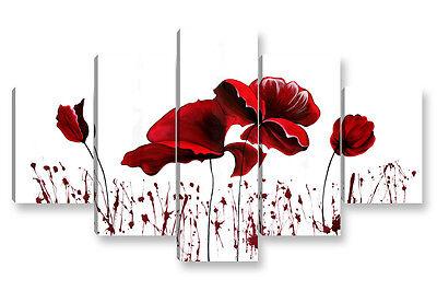 Quadro Moderno 5 Pz. Red Flowers Cm 150x90 Arredamento Arredo Stampa Su Tela Tieniti In Forma Per Tutto Il Tempo