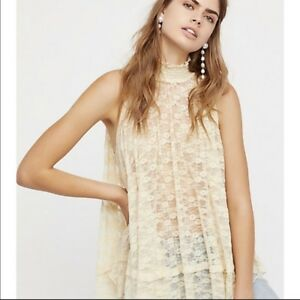 959e40e9c6d NWT FREE PEOPLE Myrna Lace Floral Mock Neck Sheer Tunic Top Cream ...