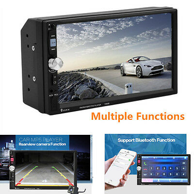 7/'/'2 DIN HD Touch Screen Bluetooth Car Stereo Radio MP5 Player FM//USB//AUX+Camera