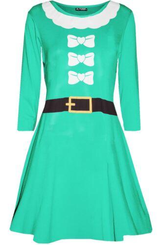 Womens Heart Ribbon Santa Father Suit Ladies Long Sleeve Christmas Swing Dress
