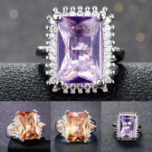 Fashion Women 925 Silver Rings Princess Cut Citrine wedding Rings Size 6-10 New