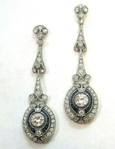 Earrings-3-00-Ct-Diamond-Dangle-Antique-Vintage-Art-Deco-14K-Gold-Over-Era-1935