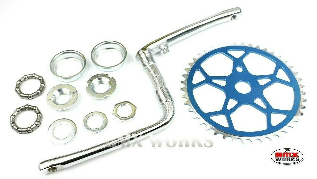 ProBMX  Old School Style Crank, Snowflake Chainwheel & Bearing Set Chrome & bluee  wholesale price and reliable quality