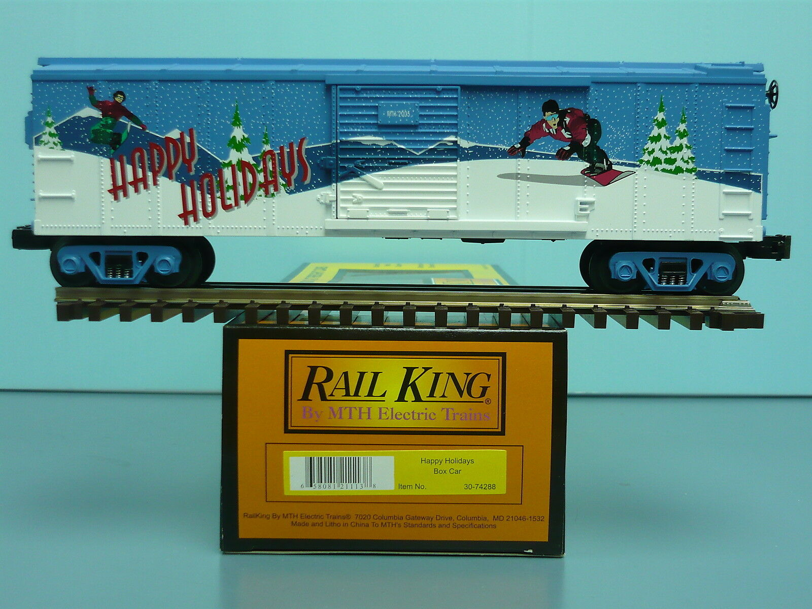 MTH Railking Box Car Happy Holidays 2005 O O27 Christmas 40' Boxcar 30-74288