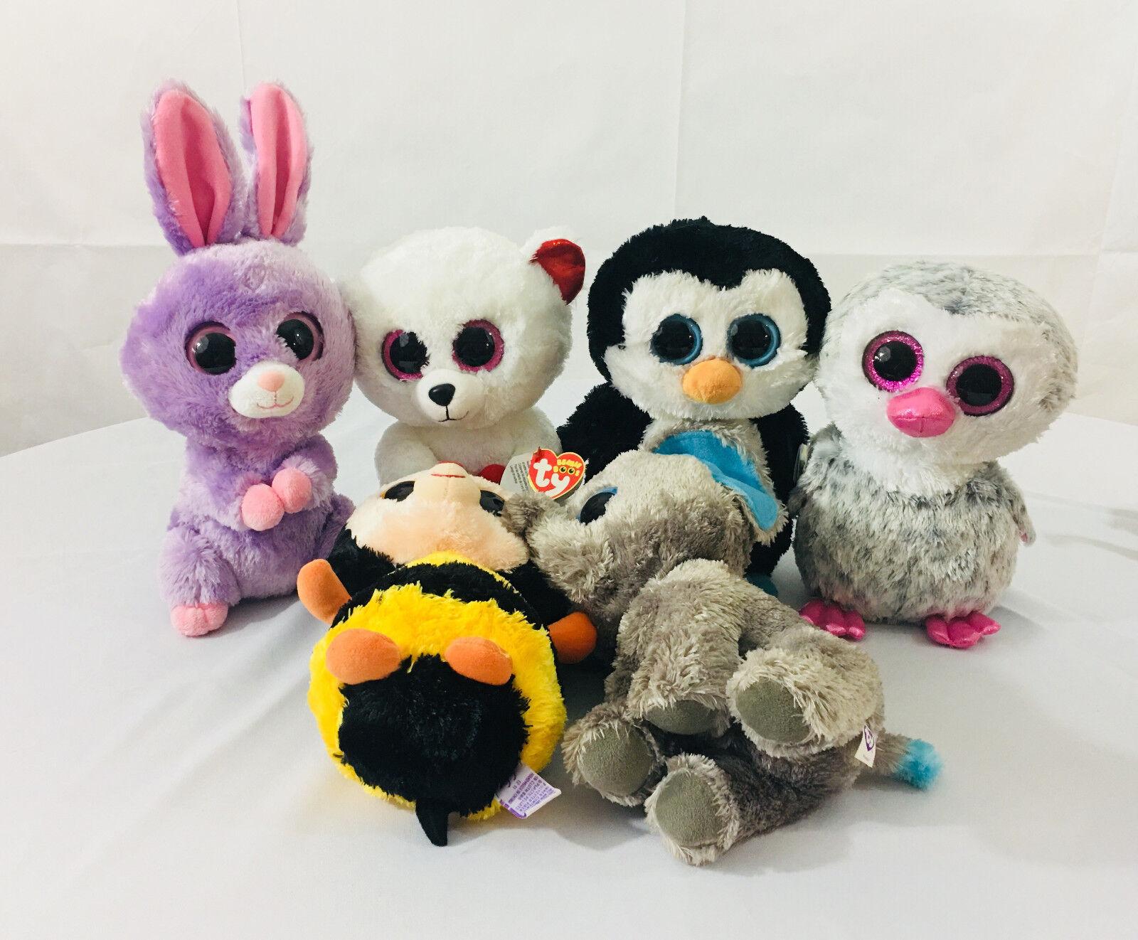 Ty Beanie Boos Lot Medium 10  Bunny Bear Bee Owl Penguin Elephant Plush
