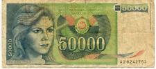 Billet banque YOUGOSLAVIE YOUGOSLAVIA SERBIA 50000 dinars 1988 état voir sca 753