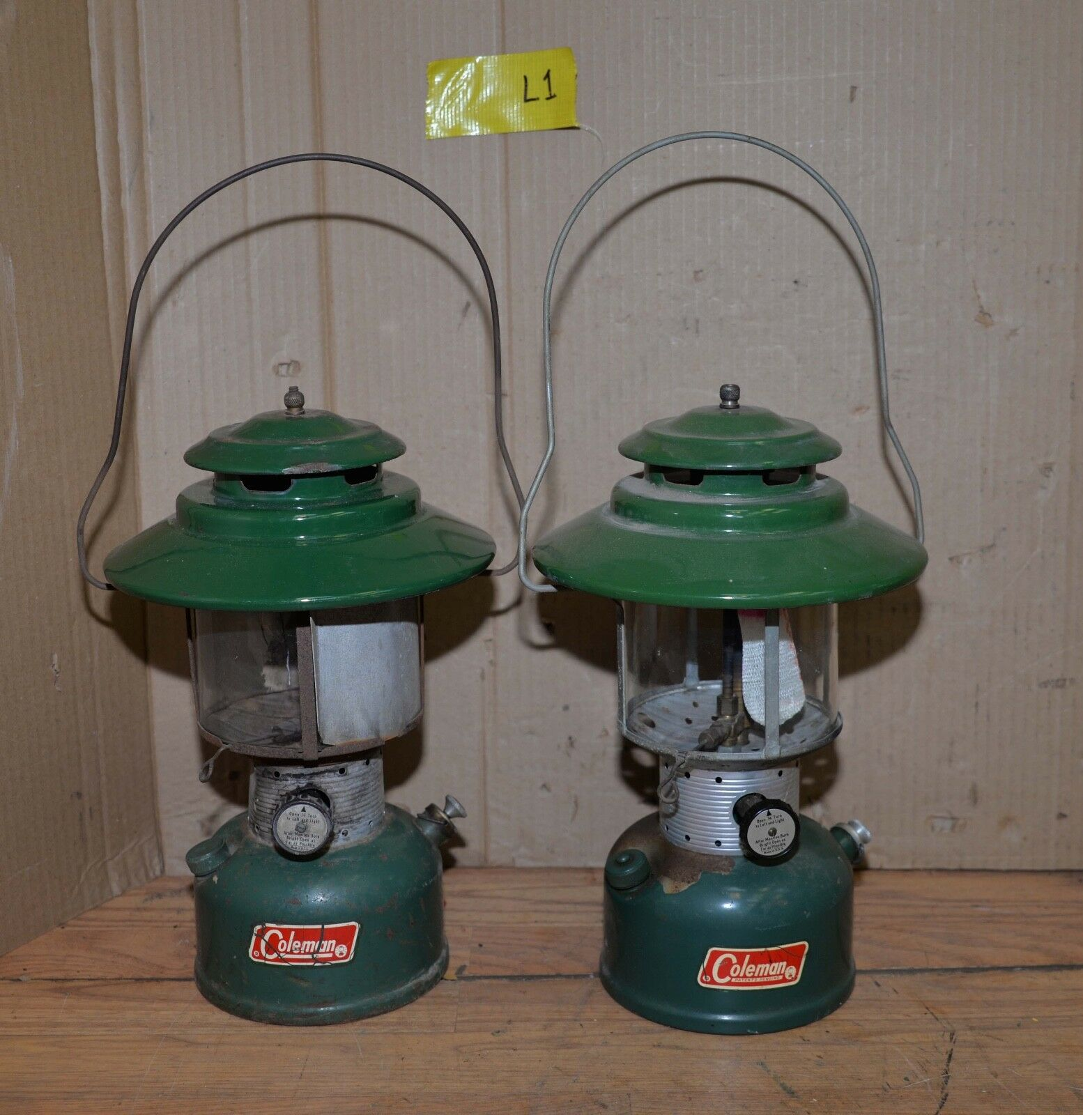 2 Coleman gas lantern big  hat model collectible camping tool 1965 1971 Lot L1  deals sale